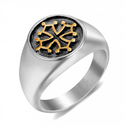 BA0242 BOBIJOO Jewelry Signet Ring Occitan Cross of Languedoc Steel Gold