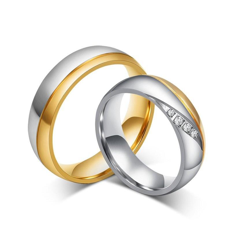 AL0001B BOBIJOO Jewelry Alianza De Acero, De Acero, De Plata De Oro De Diamantes De Imitación