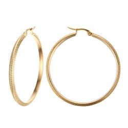 BOF0100 BOBIJOO JEWELRY Earrings Hoops Hammered 45mm Steel Gold