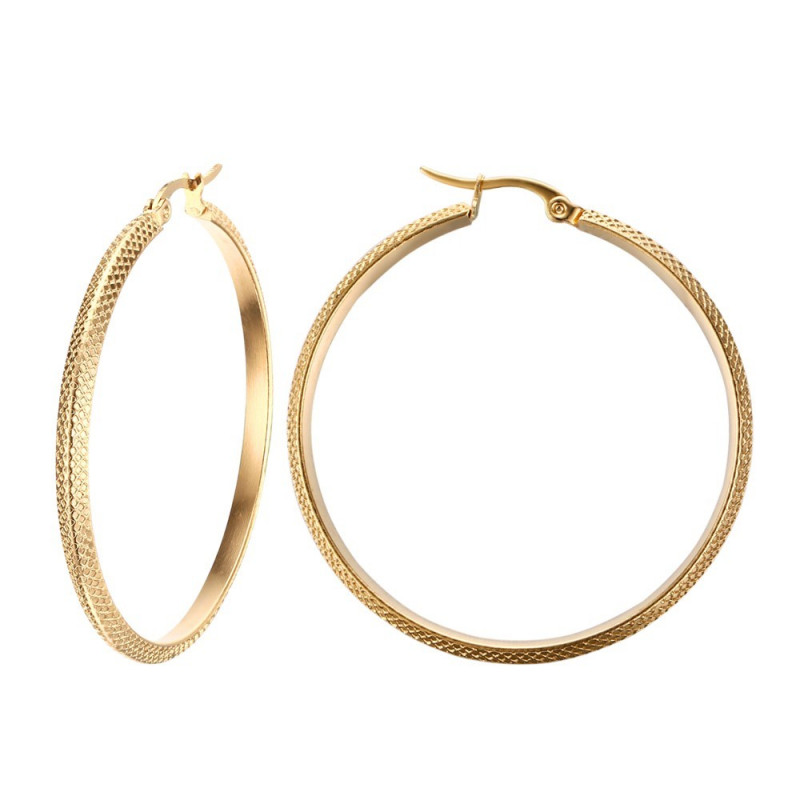 BOF0100 BOBIJOO JEWELRY Earrings Hoops Hammered 45mm Steel Gold