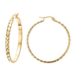 Ohrringe, Kreolen, Gemeißelt 40mm Stahl Gold