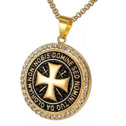 PE0164 BOBIJOO Jewelry Pendentif Templier Acier Or Strass Croix Non Nobis + Chaîne