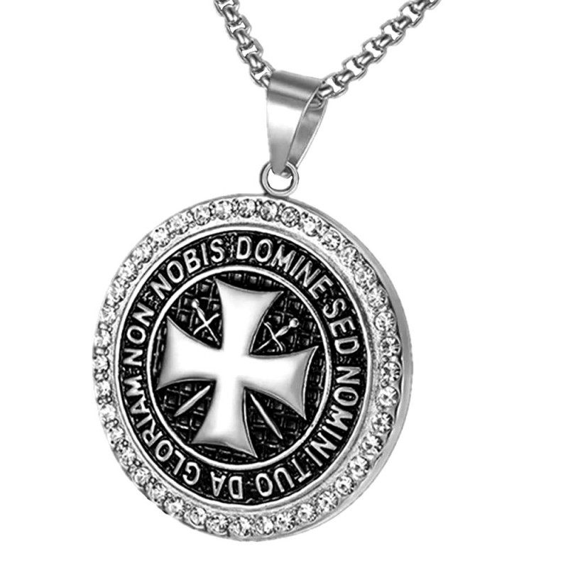 PE0164S BOBIJOO Jewelry Pendentif Templier Acier Argent Strass Croix Non Nobis + Chaîne