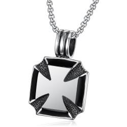 Pendant Necklace Cross Pattée of the knights Templar Steel Chain