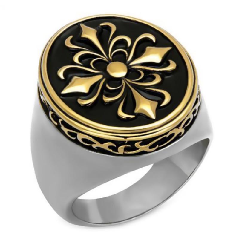 BA0082 BOBIJOO Jewelry Bague Chevalière Fleur de Lys Templier Acier Or