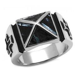 BA0083 BOBIJOO Jewelry Ring Siegelring Pyramide malteserkreuz Tempelritter