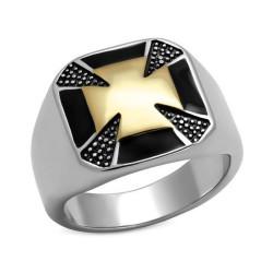 BA0084 BOBIJOO Jewelry Bague Chevalière Croix de Malte Or Templier