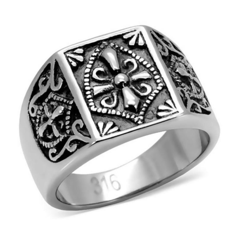 BA0085 BOBIJOO Jewelry Ring Signet Ring Steel Golden Templar Cross Ecu