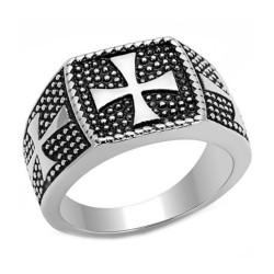 BA0087 BOBIJOO Jewelry Ring Siegelring Kreuz von Malta Templer