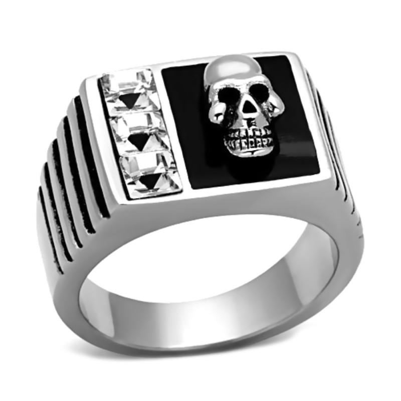 BA0088 BOBIJOO Jewelry Bague Chevalière Crâne et Diamants