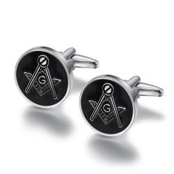 BM0001 BOBIJOO Jewelry Cufflinks, freemasonry Silver Black Round