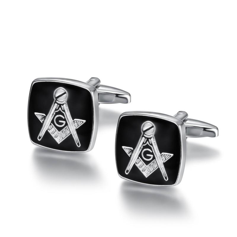 BM0003 BOBIJOO Jewelry Boutons de Manchette Franc-maçonnerie Argent Noir Carré