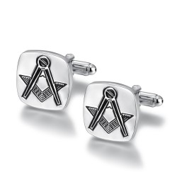 BM0004 BOBIJOO Jewelry Cufflinks, freemasonry Silver Engraved Square