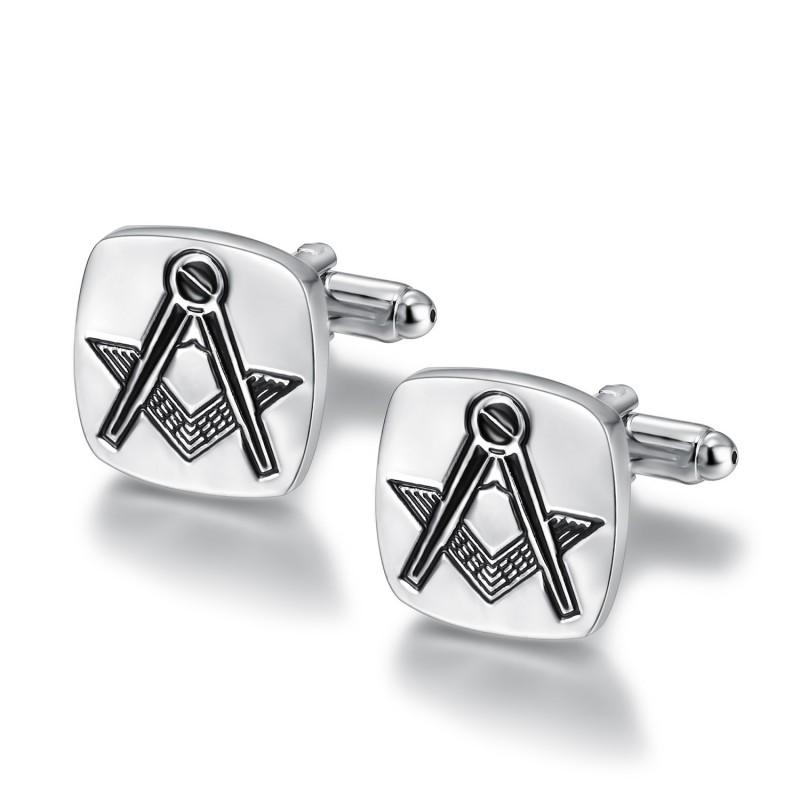 BM0004 BOBIJOO Jewelry Boutons de Manchette Franc-maçonnerie Argent Gravé Carré