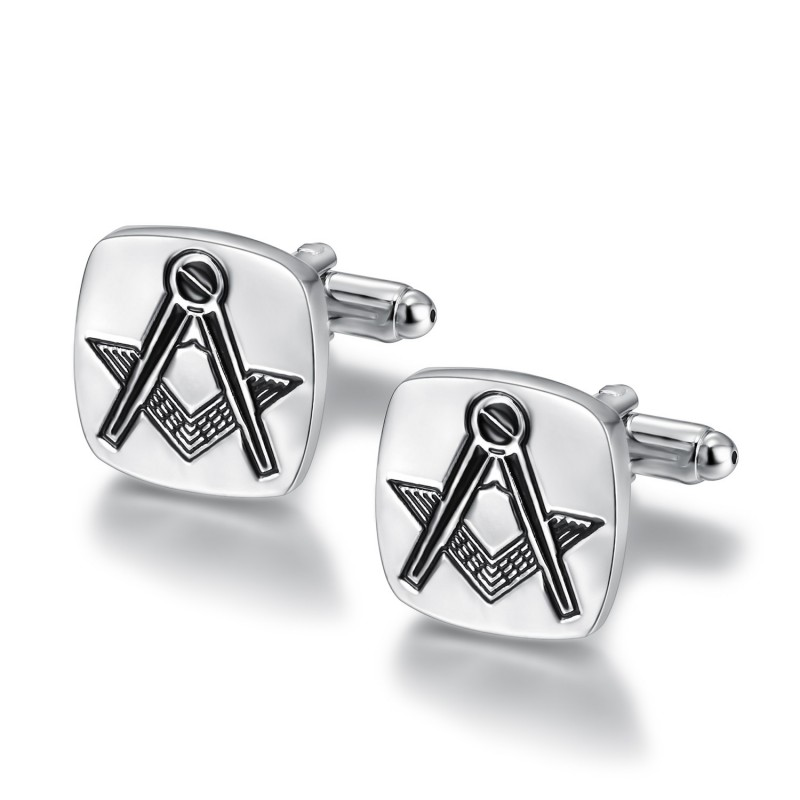 BM0004 BOBIJOO Jewelry Los gemelos, que la masonería de Plata Grabado de la Plaza