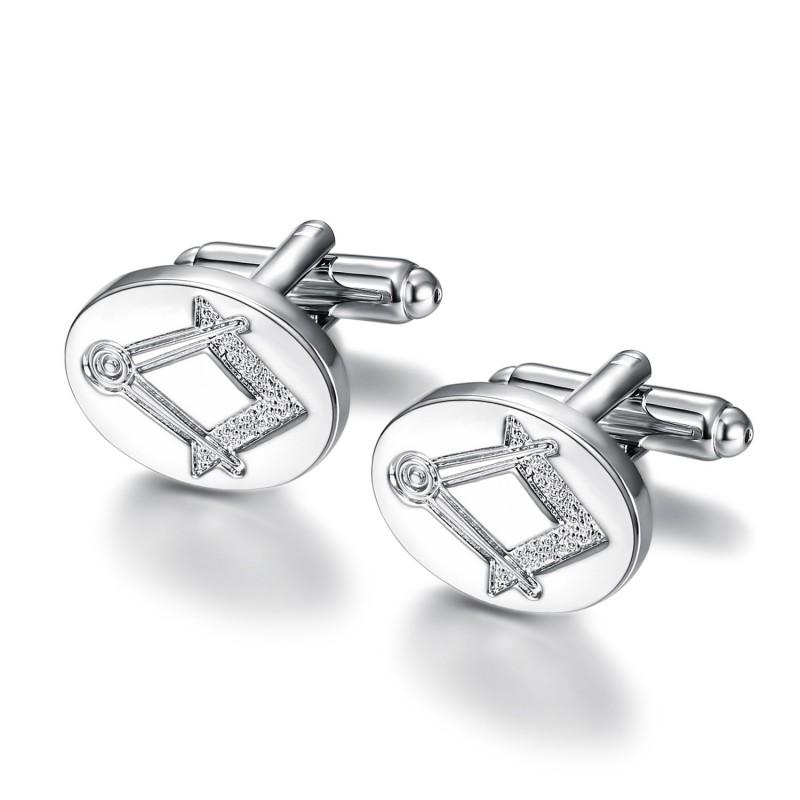 BM0008 BOBIJOO Jewelry Cufflinks, freemasonry Silver Oval Discreet