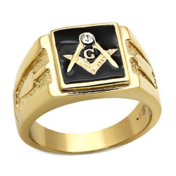 Anello anello con Sigillo Massonica di Piazza placcato Oro finitura