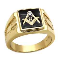 Ring Siegelring Freimaurer-Quadrat, Vergoldet, Gold