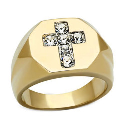 Anillo sortija de Sello de la Cruz de Jesús chapado en Oro de acabado