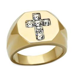 Bague Chevalière Croix Diamants Jesus Acier Or