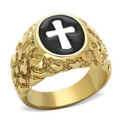 Bague Chevalière Croix Jesus Doré à l'Or Fin bobijoo