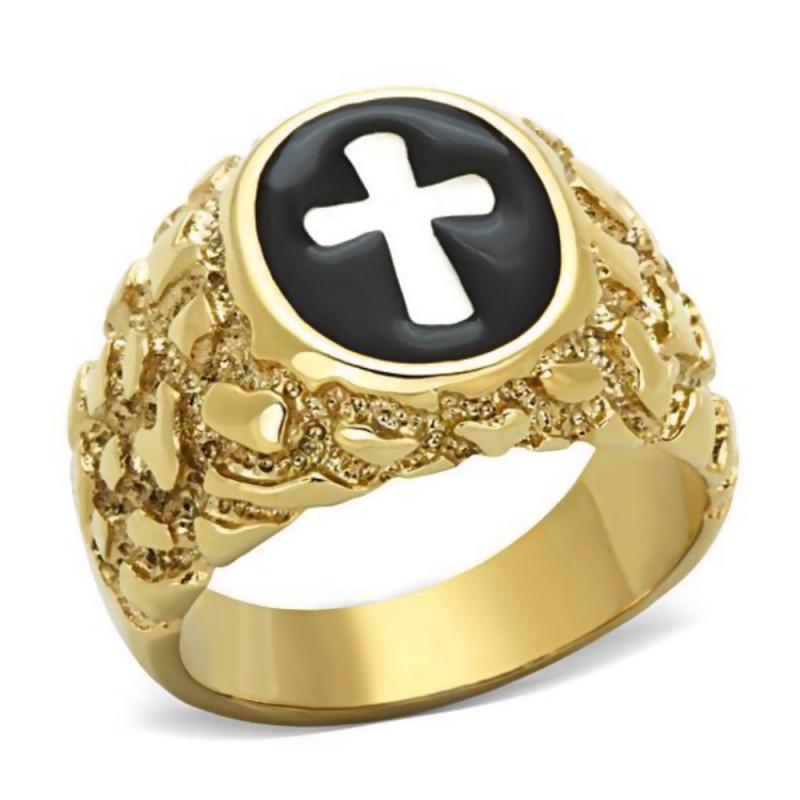 Bague Chevalière Croix Jesus Doré à l'Or Fin