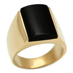 Ring Cabochon Vergoldet, weißgold Onyx