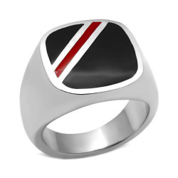 Ring Cabochon Onyx Red-Rimmed Stainless Steel