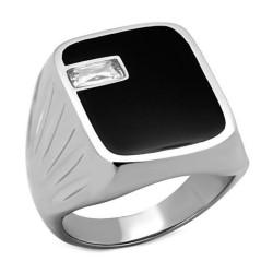 Ring Mit Großen Onyx-Cabochon Zyrconium Ziseliert