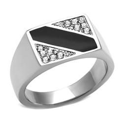 Ring mit Cabochon-Onyx und Zirkon Rechteck