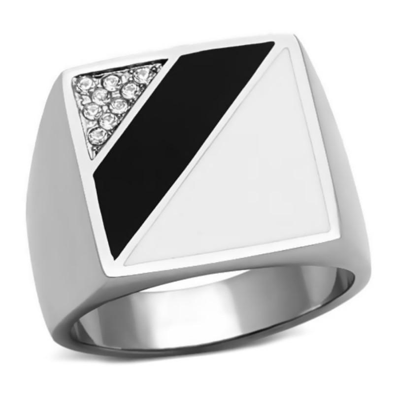 Bague Chevalière Cabochon Email Noir Blanc Faux Diamants