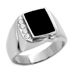 Ring Mit Cabochon-Onyx, Zirkon