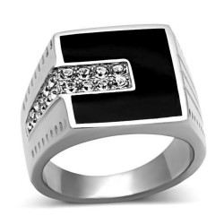 Ring Cabochon Square Onyx and Zirconia