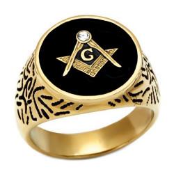 Ring Siegelring Freimaurer-Oval, Vergoldet, Gold