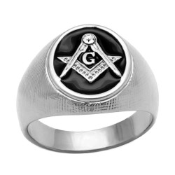 Ring Signet Masonic Oval Silver