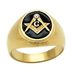 Ring Signet Masonic Oval Gold-plated finish