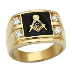 Anillo Anillo anillo Masónico de la Plaza de Oro-plateado acabado