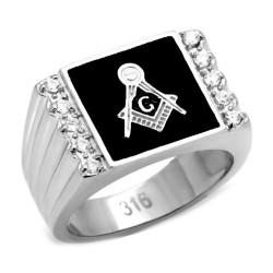 Ring Siegelring Freimaurer-Quadrat-Silber