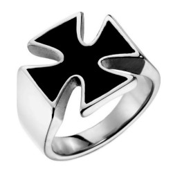 Ring Cross Of Malta Templar Knight Teutonic Steel