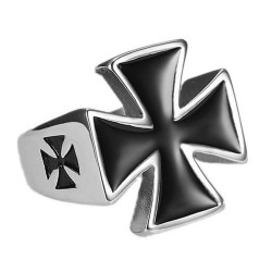 BA0210 BOBIJOO Jewelry Ring Signet ring Biker Templar Steel Man
