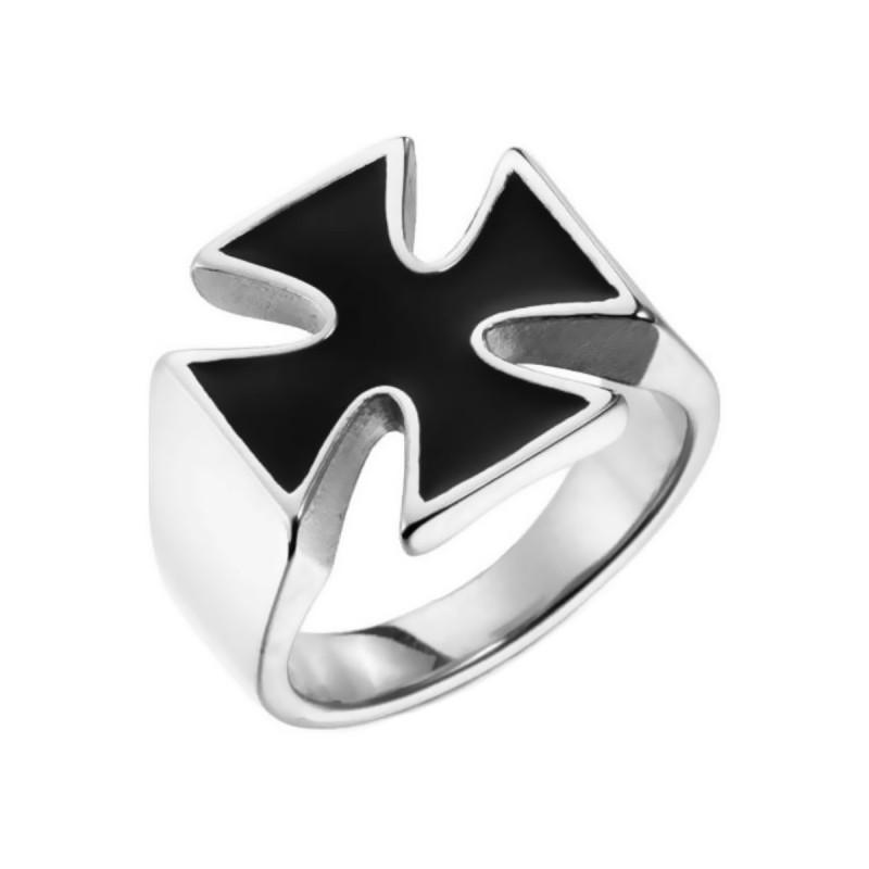 BA0359 BOBIJOO Jewelry El anillo de sellar de la Cruz de Malta, caballero Templario Ciclista de 17mm