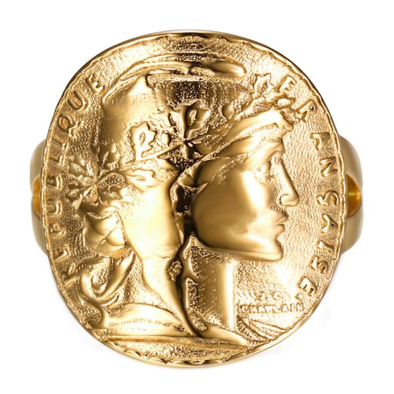 BAF0035B BOBIJOO Jewelry Anello Curvo Pezzo Da 20 Franchi Marianne Gallo Acciaio 4 colori