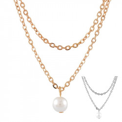 PEF0001 BOBIJOO Jewelry Necklace Pearl Pendant Pearl Double Strand Golden Silver