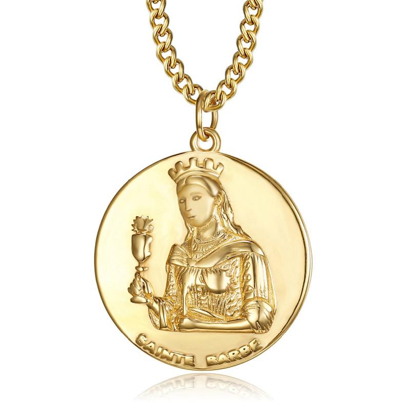 PE0252 BOBIJOO Jewelry Colgante de Bombero de San bárbara, Bárbara, Protectora de Acero de Oro