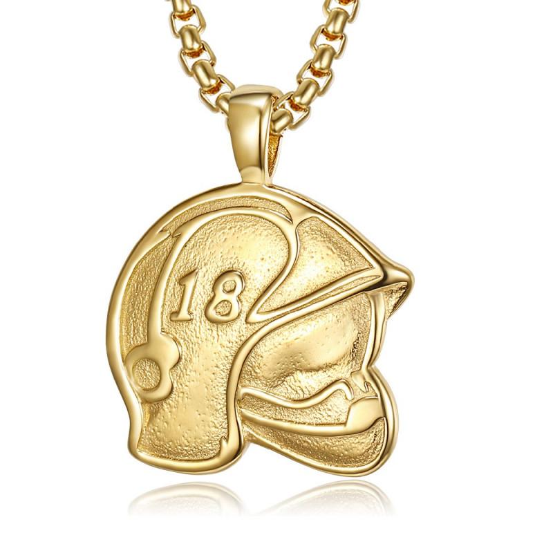 PE0254 BOBIJOO Jewelry Colgante Casco de Bombero Francia 18 de Acero de Oro
