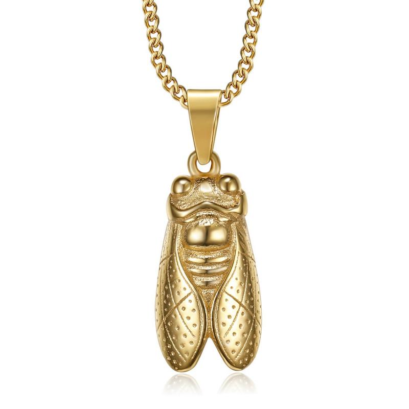 PE0256 BOBIJOO Jewelry Colgante de la Cigarra Sur de Francia de Acero de Oro