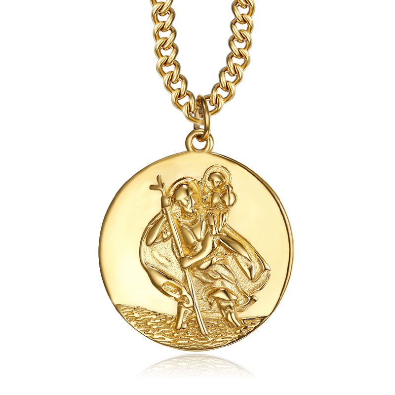 PE0258 BOBIJOO Jewelry Anhänger Halskette Saint-Christophe-Reisender Stahl Gold 25mm
