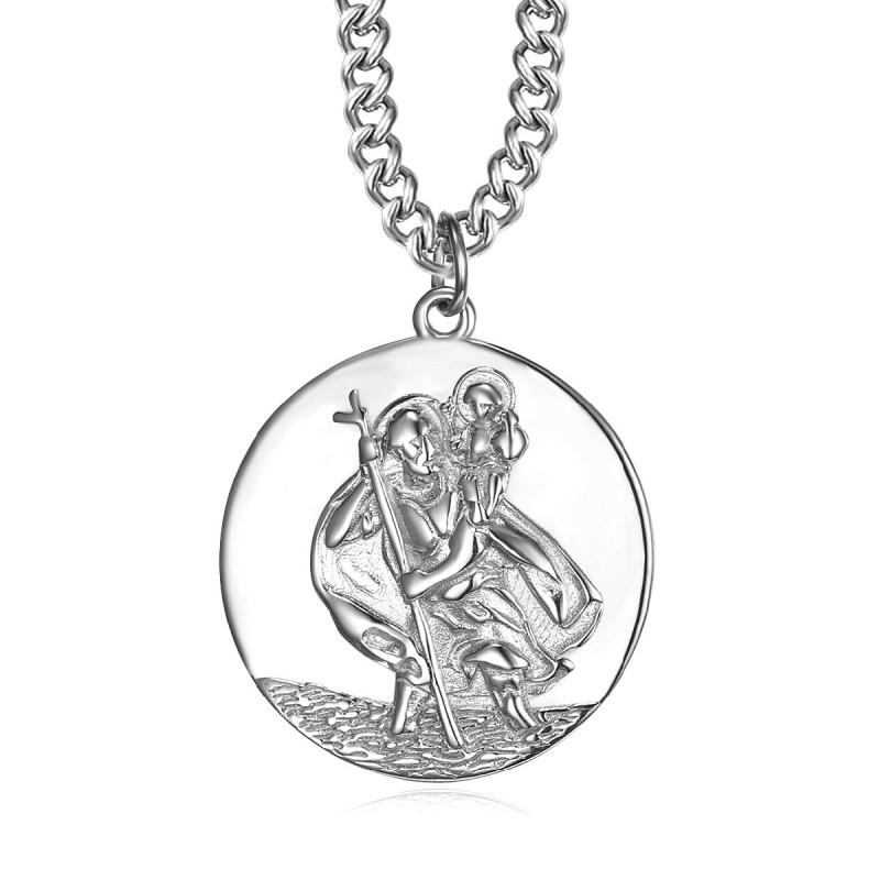 PE0259 BOBIJOO Jewelry Pendant Necklace, Saint Christopher Traveler Steel 25mm
