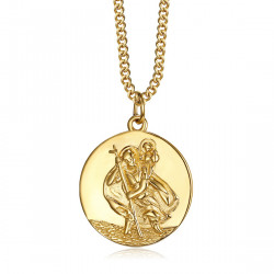 PE0260 BOBIJOO Jewelry Colgante, Collar, San Cristóbal Viajero de Acero de Oro de 20 mm