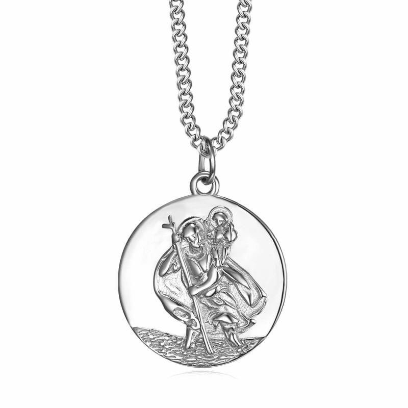 PE0261 BOBIJOO Jewelry Pendant Necklace, Saint Christopher Traveler Steel 20mm